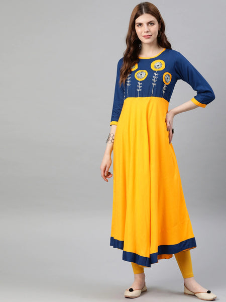 Beautiful Bright Yellow Anarkali Kurti