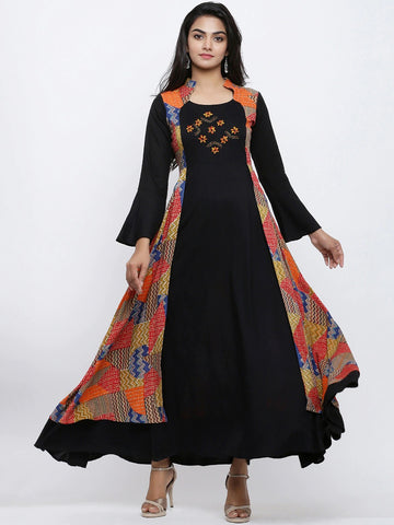 Beautiful Black And Multicolour Anarkali Kurti