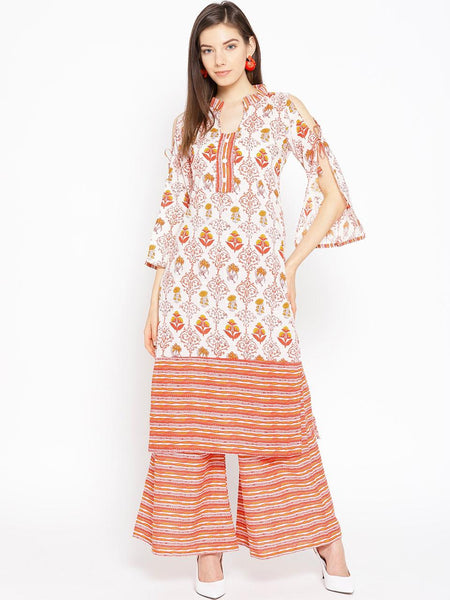 Beautiful and Designer Multicolour Straight Cut Kurti with Palazzo