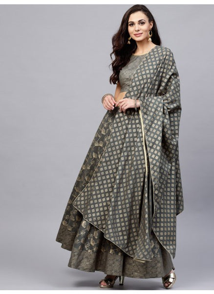 Grey Color Cotton Lehenga with Choli
