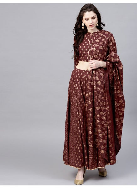 Maroon Color Cotton Lehenga with Choli