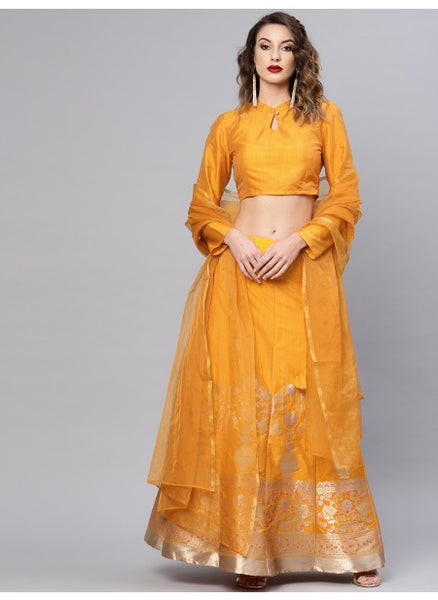 Mustard Color Poly Silk Lehenga with Choli