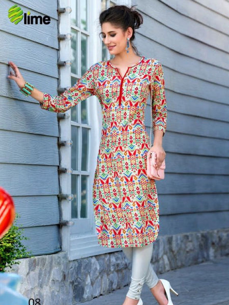 Red and Multicolour Cotton Kurti
