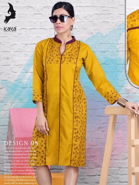 Mustard Cotton Kurti - PurpleTulsi.com  - 1
