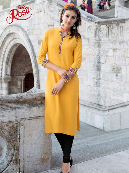Canary Yellow Rayon Kurti - PurpleTulsi.com