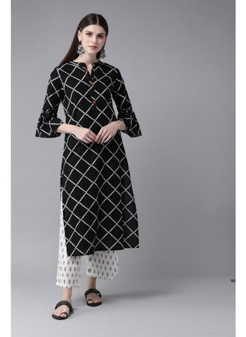 Black Color Cotton Kurti with Palazzo