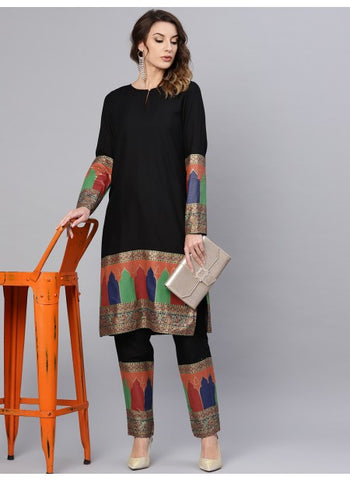 Black Color Rayon Kurti with Palazzo