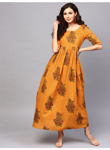 Mustard Color Cotton Printed Dress