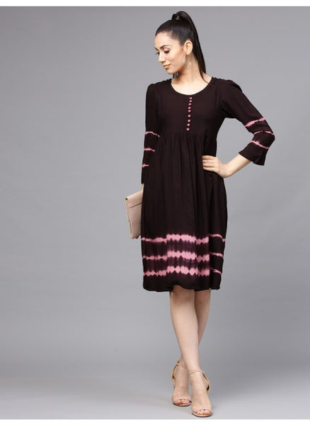 Brown Color Rayon Dyed Dress