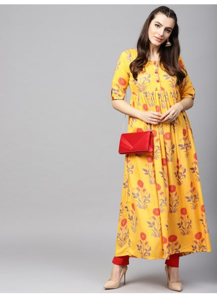 Beautiful Mustard Color Anarkali Kurti