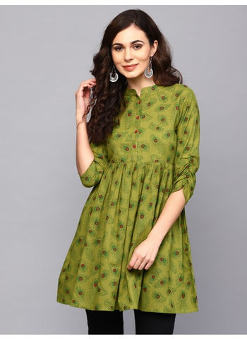 Beautiful Green Color Anarkali Kurti