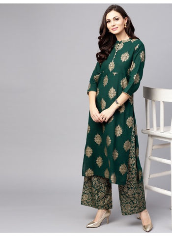 Bottle Green Color Cotton Kurti with Palazzo