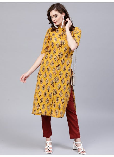 Yellow Color Cotton Kurti with Palazzo