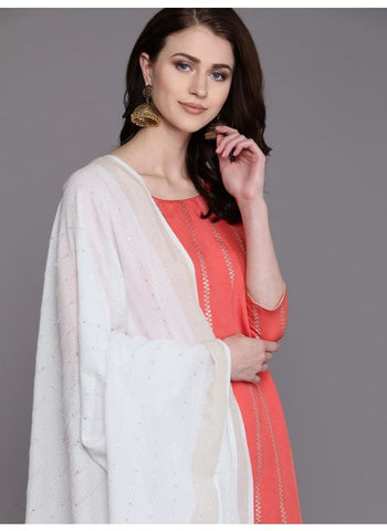 Off White Color Rayon Dupatta