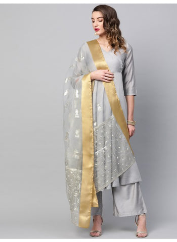 Grey Color Organza Dupatta