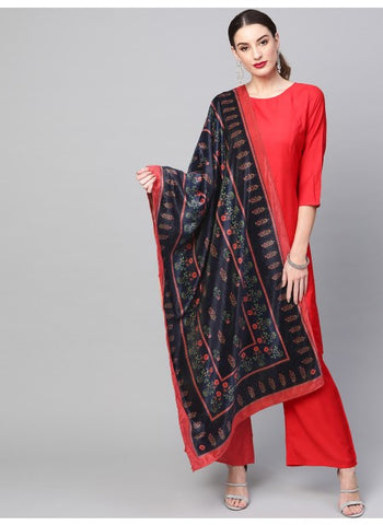 Navy Blue Color Cotton Blend Dupatta