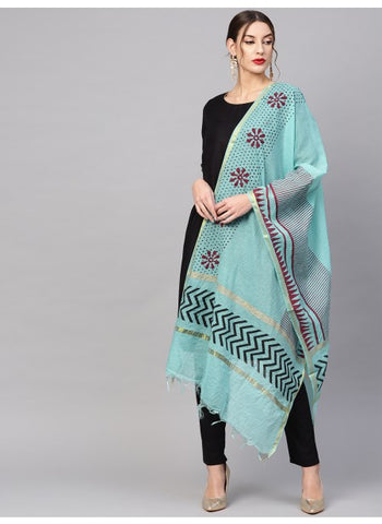 Turquoise Color Cotton Dupatta
