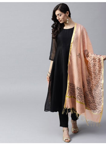 Pink and Black Color Kora Chanderi Dupatta