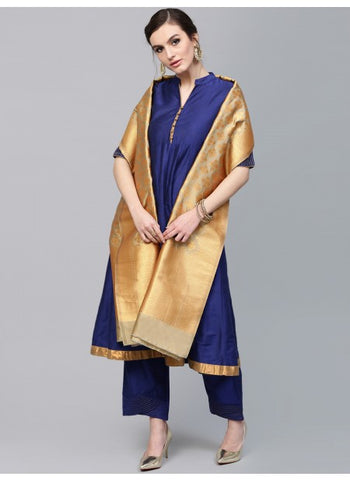 Beige and Golden Color Silk Dupatta