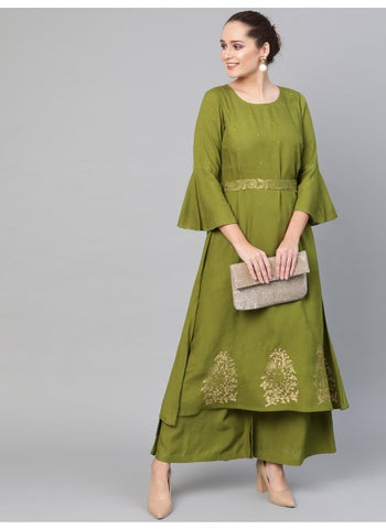 Green Color Cotton Straight cut Kurti with Palazzo