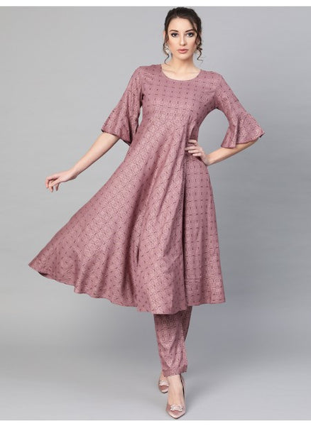 Mauve Color Rayon Printed Anarkali Kurti