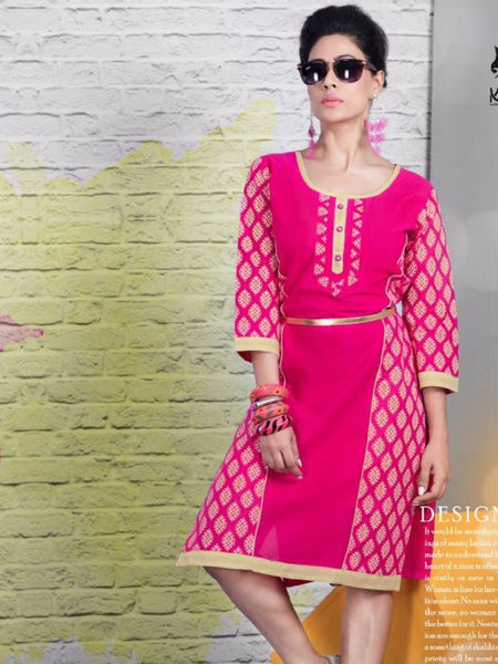 Hot Pink Cotton Kurti - PurpleTulsi.com  - 1