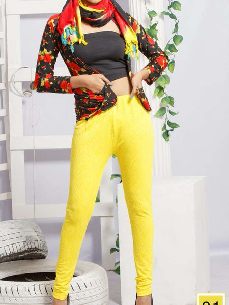 Yellow Jacqard Leggings - PurpleTulsi.com