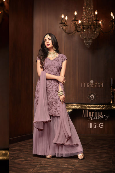Mauve Net Moti Worked Straight Cut Suit