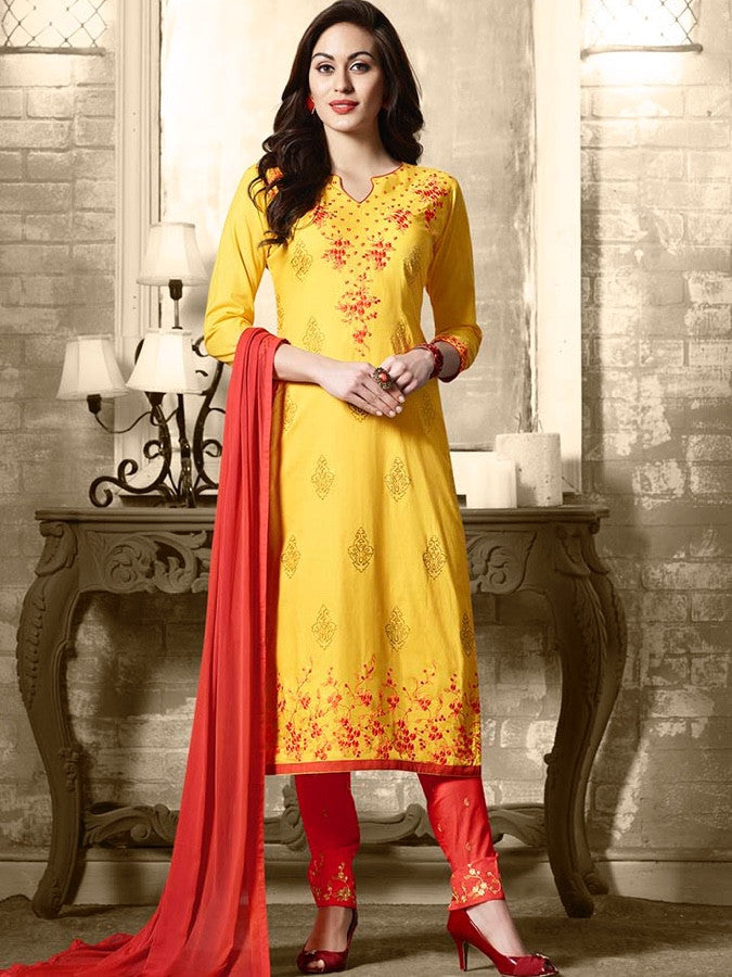 Bright Yellow and Orange Straight Cut Suit
