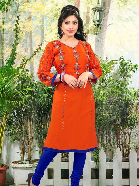 Tangerine Orange Cotton Kurti - PurpleTulsi.com  - 1