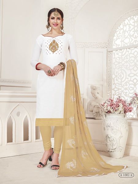 Party Wear White Color Modal Silk Straight Cut Suit