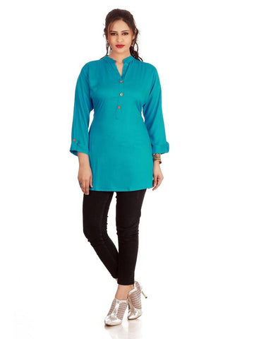 Designer Blue Color Rayon Plain Casual Wear Short  Kurti Top