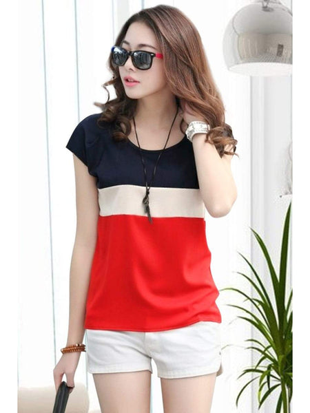 Stylish Red Color American Crepe Top