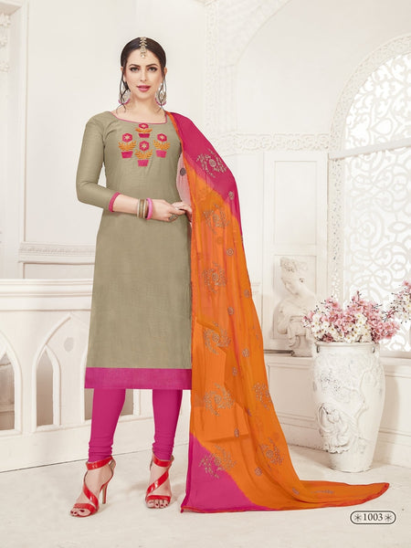 Party Wear Grey Color Modal Silk Straight Cut Suit