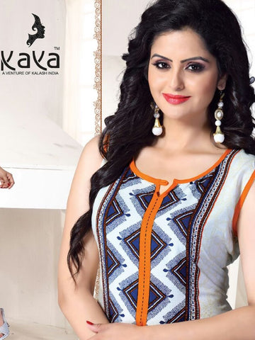 White and Saffron Rayon Kurti - PurpleTulsi.com