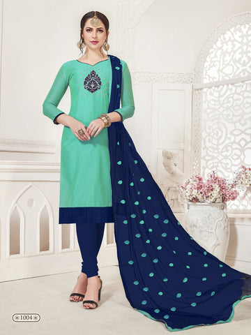 Party Wear Sea Green Color Modal Silk Straight Cut Suit