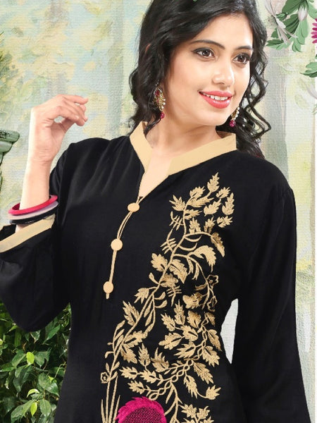 Black Cotton Kurti - PurpleTulsi.com  - 1