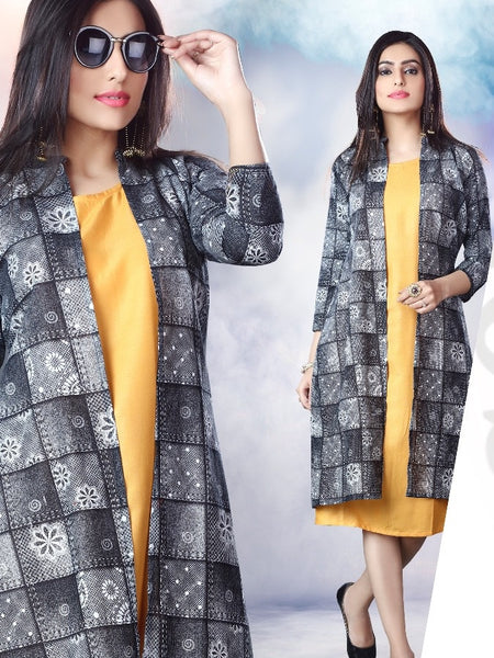 Yellow and Black Rayon Kurti