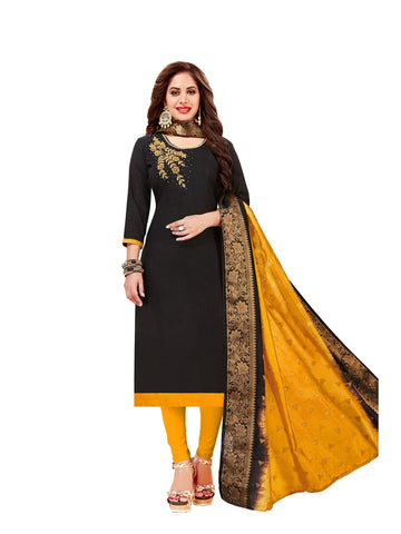 Designer Cotton Black Color Straight Cut Suit
