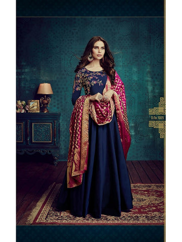 Designer Blue Color Embroidered Long Suit Gown With Banarasi Dupatta