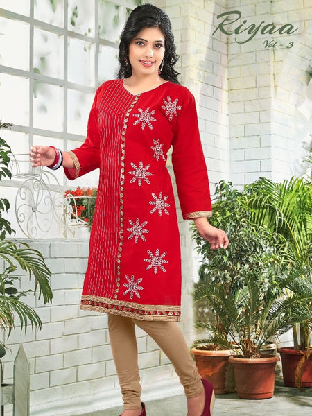 Dark Red Cotton Kurti - PurpleTulsi.com  - 1
