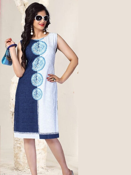 White and Cobalt Blue Rayon Kurti - PurpleTulsi.com  - 1