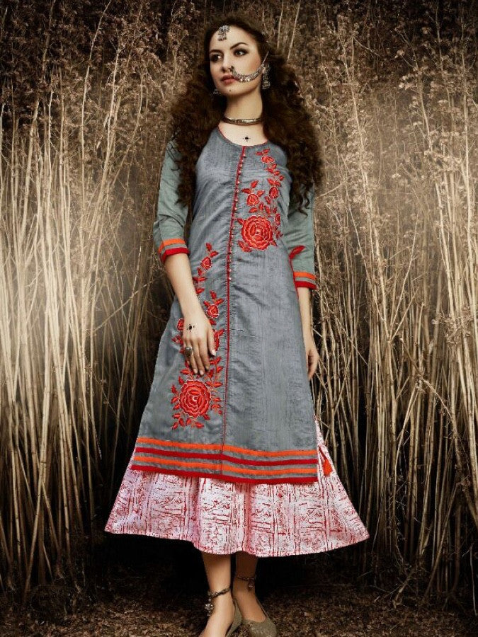 Steel Grey and Blush Pink Silk Kurti