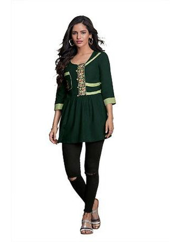 Designer Dark Green Color Summer Top