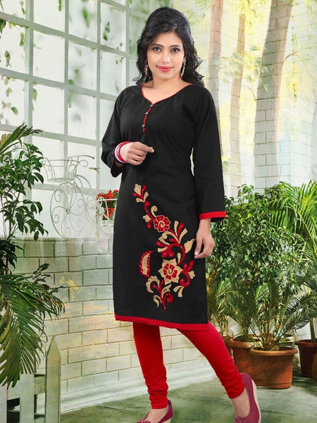 Midnight Black Cotton Kurti - PurpleTulsi.com  - 1