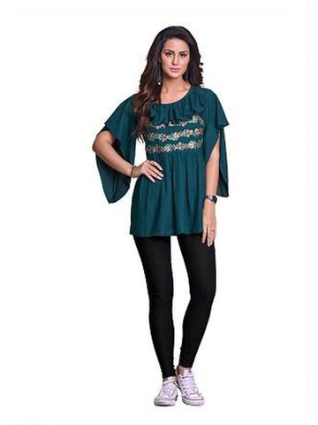 Designer Green Color Summer Top