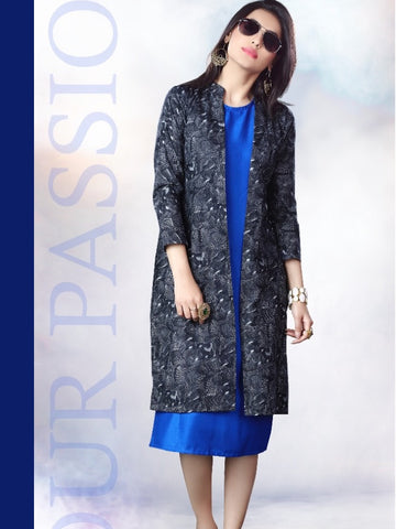 Admiral Blue and Black Rayon Kurti