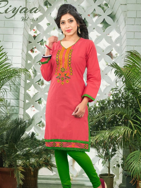 Bright Pink Cotton Kurti - PurpleTulsi.com  - 1