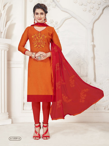 Party Wear Royal Orange Color Modal Silk Straight Cut Suit