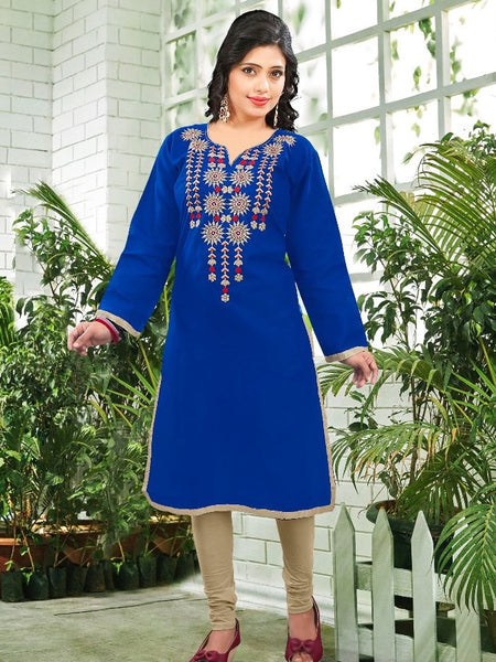 Cobalt Blue Cotton Kurti - PurpleTulsi.com  - 1